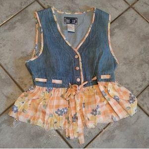 Vintage True Blue tank vest blouse top